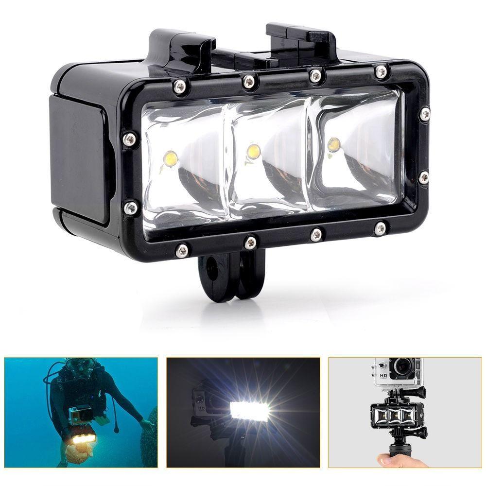 Étanche sous-marine plongée LED caméra vidéo Kit de lumière pour Gopro 3 + 4 Action caméra de remplissage lampe de plongée Photo vidéo lumières