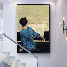 The Girl Play Piano Vintage Poster And Prints Famous Canvas Oil Painting Reproduction On Wall Art Picture For Living Room Decor