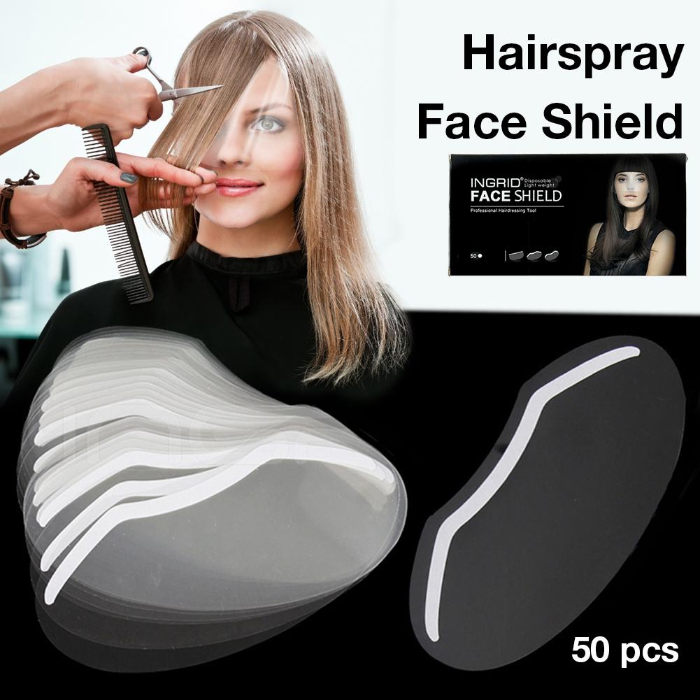 50PC Transparent Plastic Disposable Face Hairspray Shield Mask Forehead Haircut Product Shield For Hair Cutting Protect Face Eye