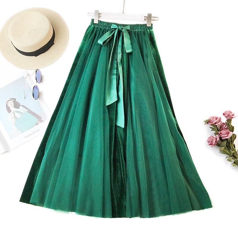 Women Skirt Mesh Patchwork Long Skirts Bow Tie Hallow Out Fashion Summer Autumn Big Swing Skirt Female Elegant Lace Skirt Faldas