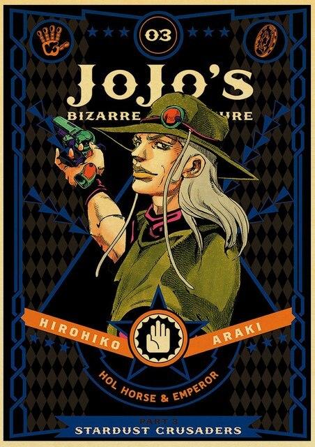 Japanese anime fantasy adventure JoJo's Bizarre Adventure retro style family wall wall stickers bar cafe deco kraft paper poster 3