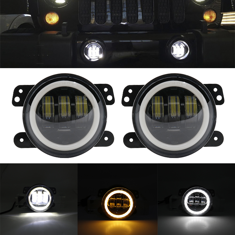Auto LED Driving <font><b>Lamp</b></font> <font><b>Fog</b></font> Light Round 4 Inch Passing <font><b>Lamp</b></font> for Jeep Wrangler TJ JK Dodge vaz 2110 Kubota tractor chrysler <font><b>mazda</b></font> image