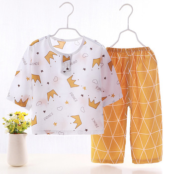 conditioning clothing summer suit children's home clothes 1-5-10 years old baby air conditioning clothing thin clothes image