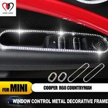 מכירה לוהטת עבור מיני קופר countryman R60 רכב סטיילינג דלת חלון מעלית מתג פנל מדבקת innerior קישוט קריסטל מדבקה