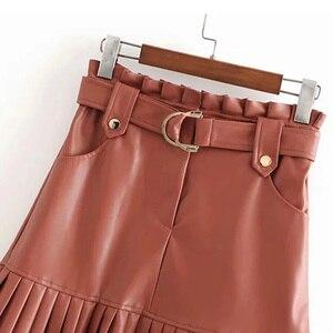 Image 5 - BONJEAN נשים של עור מפוצל קפלים חצאית עם חגורה אופנה גבוהה מותן Slim חורף Za חצאיות נשים נשי Falda