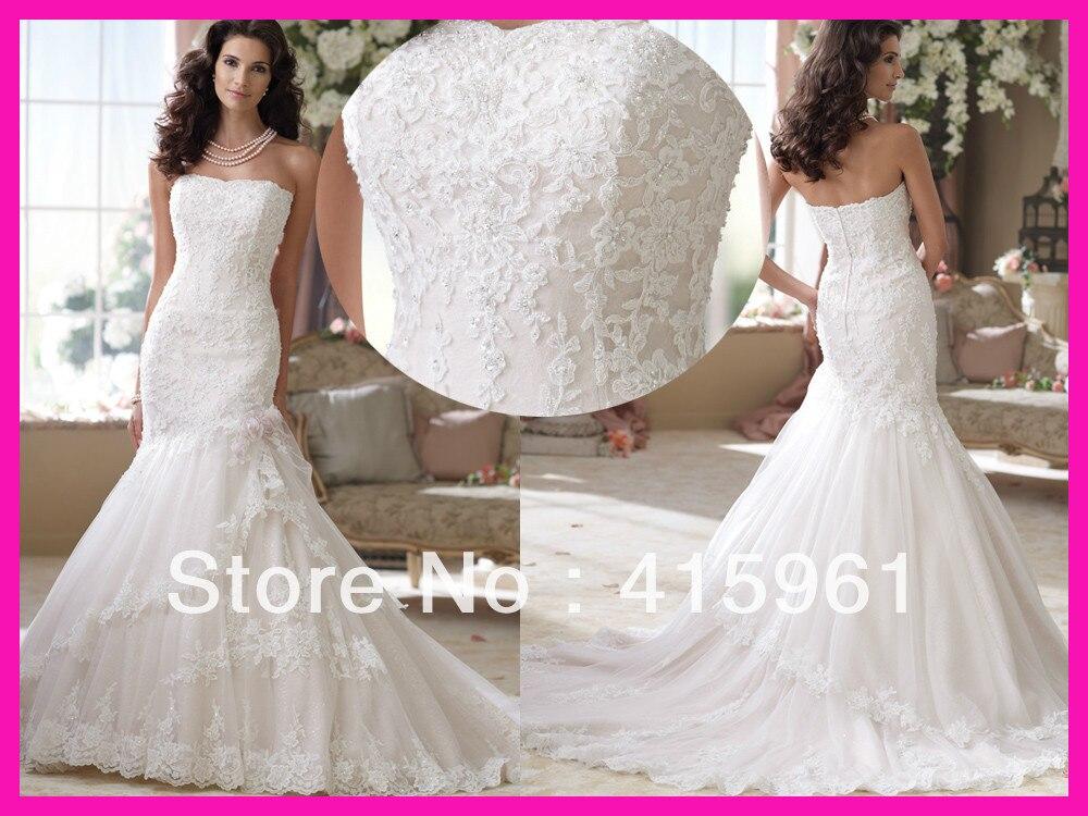 2019 Vestido De Noiva Robe De Mariee Strapless Beads Lace Mermaid Bridal Dresses Wedding Gowns Free Shipping Wedding Dress
