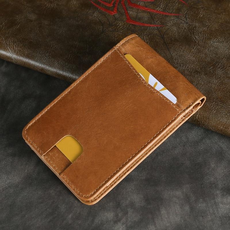 European style Small wallet Vintage Genuine leather Men Wallet bag Slim man wallets Cowhide New mens wallets casual money clip