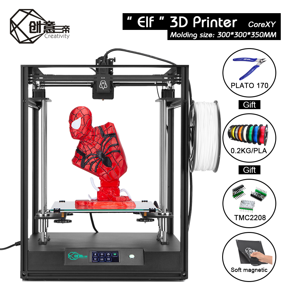 CoreXY Elf Dual Z Axis 3D Printer High Precision Aluminum Profile Frame Large Area FDM Low noise with TMC2208 3dTOUCH3D Printers   -