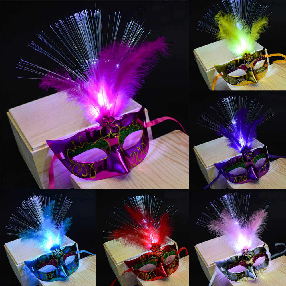Hiinst Mask Women Men Venetian LED Fiber Mask Girls Masquerade Fancy Dress Party Princess Feather parties Masks masquerade#11