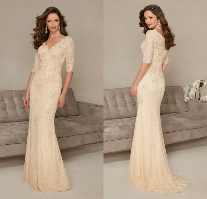 GP4 Vestido De Festa Custom Made V Neck Long Mermaid Champagne Lace Evening Dress 2016 Half Sleeve Mother Of The Bride Dress