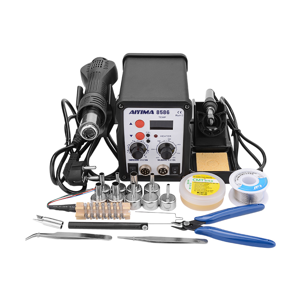 220V 700W 2 In 1 SMD 8586 Air Soldering Station Hot Air Gun Rework Solder Iron For Welding Repair Tool Kit Solder Iron