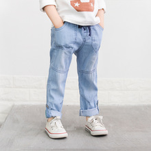 Kids Boy Girl Jeans Style Pants Children Spring Summer Cotton Casual Elastic Waist Long Trousers Boys Thin Breathable Clothes md 151 winter fashion children stripe print harem trousers spring autumn boy clothes kids casual elastic waist long sport pants