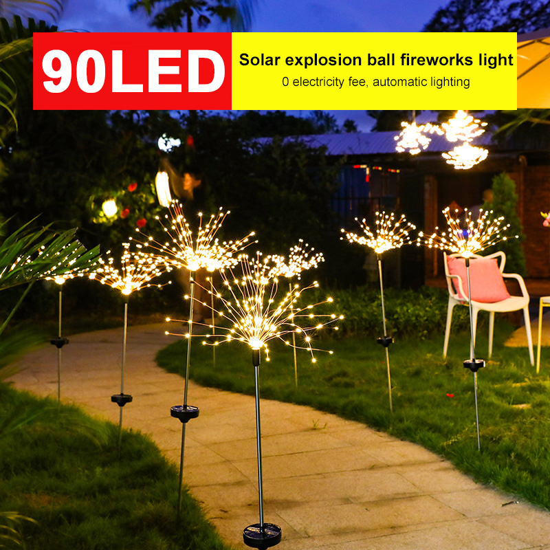90 LED Solar Light Fairy Dandelion Lawn Lights Fireworks Lamp Outdoor Waterproof Bouquet Solar Light For Garden Christmas Decor