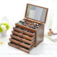 2019 European Style Jewelry Box Storage Box Wooden Princess with A Mirror Storage Wedding Gift Makeup Organizer Case Wooden Box