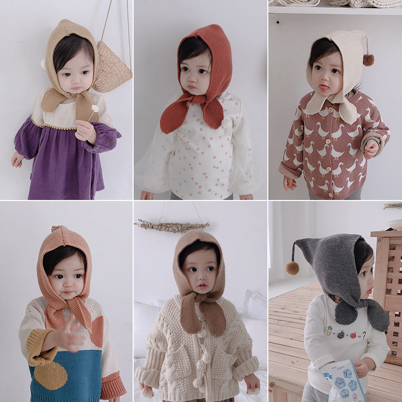 NEW baby girl hat 2019 autumn and winter ball knit newborn hat full cotton fashion baby cap Korean Edition 0 4 years in Hats Caps from Mother Kids