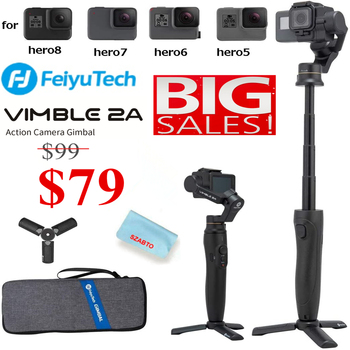Feiyu Vimble 2A Extendable Action Camera Handheld 3-Axis Stabilizer Gimbal for GoPro Hero 7/6/5 Camera with Tripod and Carry Bag