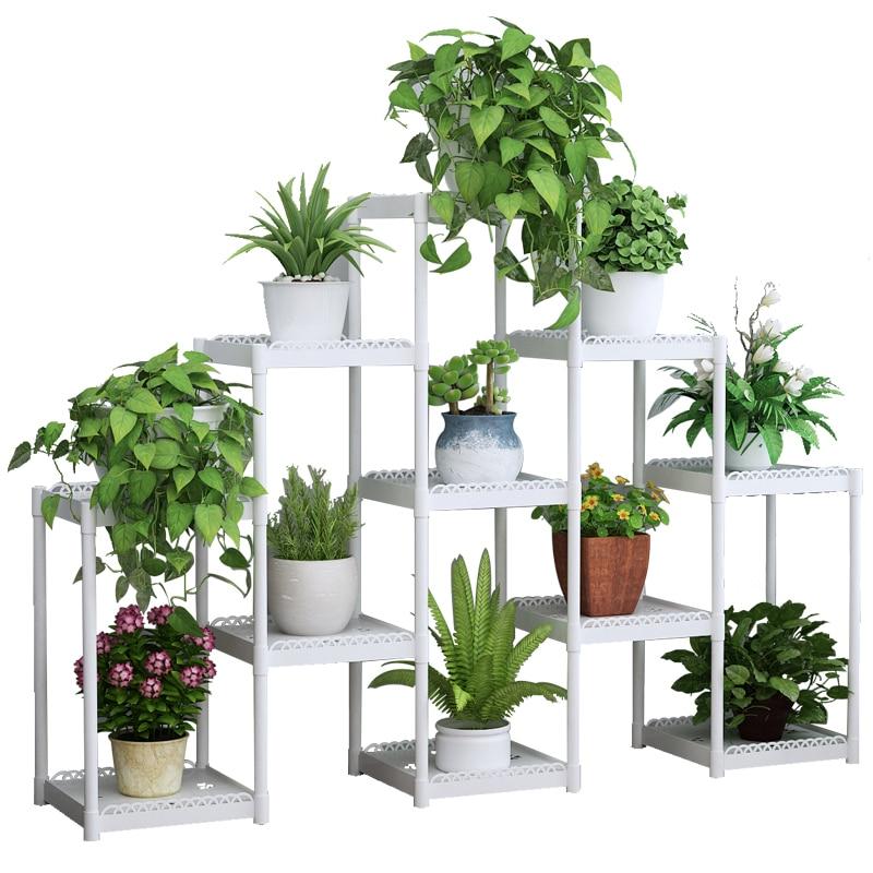 Flower Airs Multi-storey Indoor Balcony Ladder Type Flower Rack Green Radish Meat Flowerpot Frame Plastic Floating Window Shelf