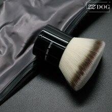 1 conjunto de escova de fundação sem costura de alta densidade superior plana com saco de armazenamento rosto maquiagem escova em pó blush kabuki cosméticos ferramentas