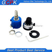 3590S-2 3590S Precision Multiturn Potentiometer 10 Ring Adjustable Resistor + 1PCS Turns Counting Dial Rotary 6.35mm Knob