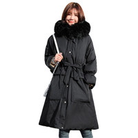 Big Fur New black Fashion Winter Women's Jacket Plus Down Parka Female Warm Winter Coat Hooded Women Outerwear