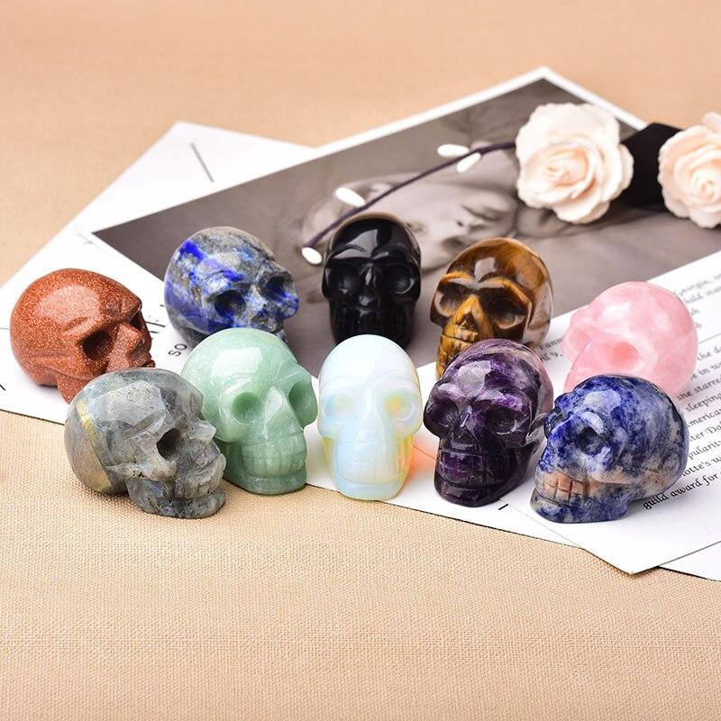 2inch Natural Gemstone Skull Amethyst Tigers Eye Crystal Rose Quartz Wicca Feng Shui Healing Stone Ornaments Figurine Home Deco