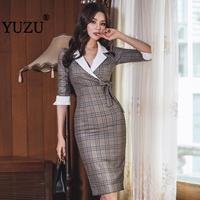 Khaki Dress Office Plaid Bodycon Women Clothes 2019 Bow Lace Up Turn down Collar Formal Dress Women Elegant Midi Pencil Dress