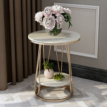Italian style light luxury rock slab side table coffee table Nordic living room small round table apartment balcony marble table