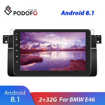 Podofo 2 Din Android 8.1 GPS Navigation Multimedia Player 8'' Autoradio GPS WiFi Bluetooth For BMW E46 Radio Stereo DVD image