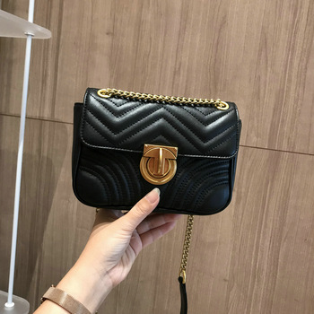 Women Genuine Leather White Handbags Chains Cover Messenger Shoulder Bags Messenger Bag Crossbody Flap Black Handbag