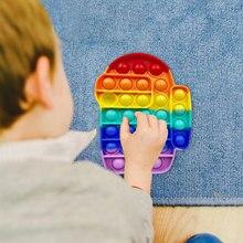 Push it bolha fidget antiestresse brinquedos adultos crianças unicórnio dinossauro pop brinquedo sensorial autismo necessidades especiais alívio do estresse