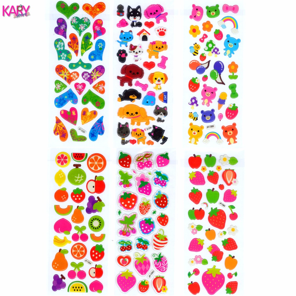 6 Sheets Kawaii Cute Fruits Pets Animals Scrapbooking Bubble Puffy Stickers Gifts Reward Kids Children Toys Factory Direct Sales