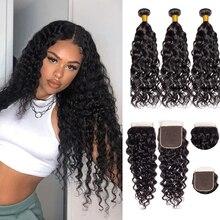 Extensiones con ondas al agua con Frontal paquetes de cabello peruano extensiones de cabello humano con cierre Lumiere pelo Remy