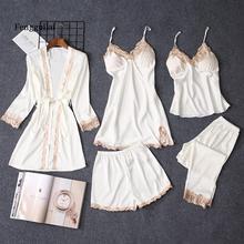 Pajama Sets Women pajamas nightgown Silk like sleepwear for women  set 5pcs/set lingerie
