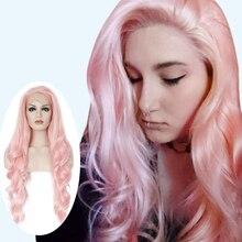 Anogol длинный волнистый розовый высокотемпературный волоконный бордовый серый блондин Оранжевый Синтетический парик на кружеве для женщин часть