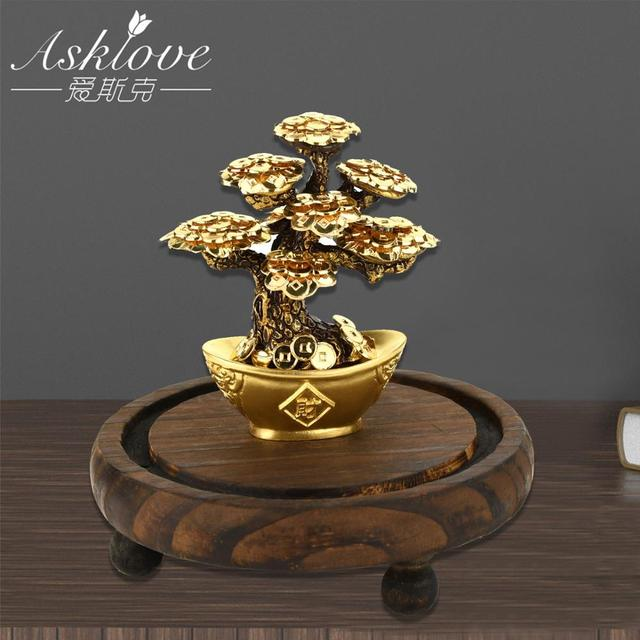 Feng Shui Fortune tree Gold Foil Money Tree Bonsai Office Tabletop Lucky Wealth Ornaments Gifts Home Decoration with Gifts box 5