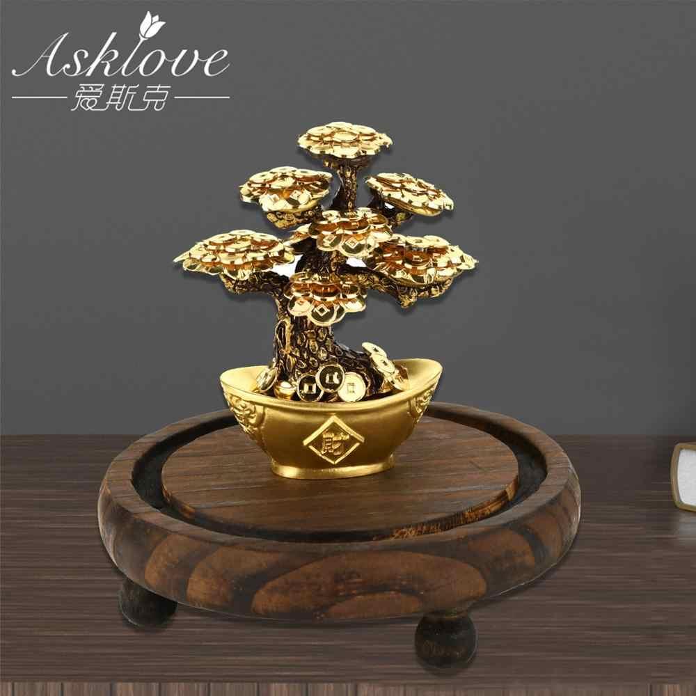 פנג שואי מזל עץ זהב רדיד כסף עץ בונסאי משרד שולחן מזל עושר קישוטי מתנות עיצוב הבית עם מתנות תיבה