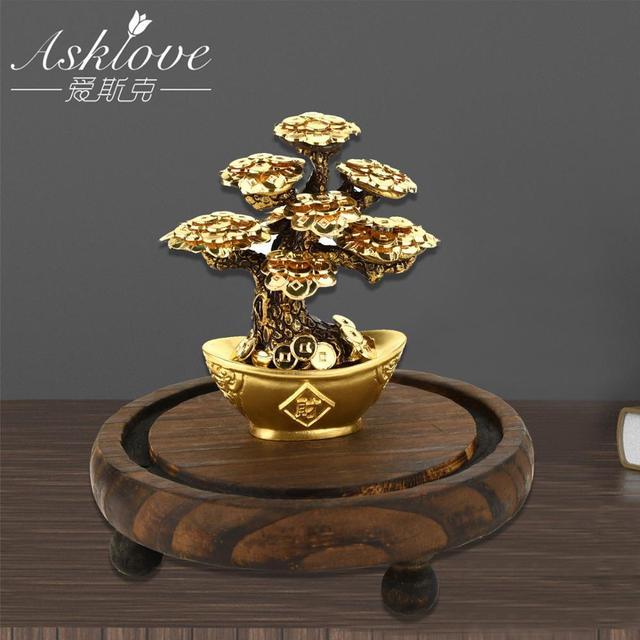 Feng Shui Fortune drzewo złota folia drzewko szczęścia Bonsai biuro Tabletop szczęście bogactwo ozdoby prezenty dekoracji wnętrz z pudełko na prezenty