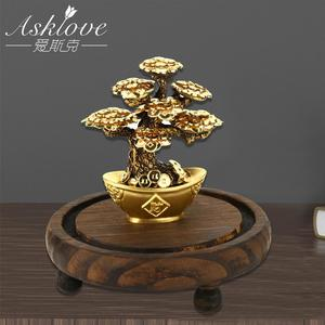 Image 4 - Feng Shui Fortune tree Gold Foil Money Tree Bonsai Office Tabletop Lucky Wealth Ornaments Gifts Home Decoration with Gifts box