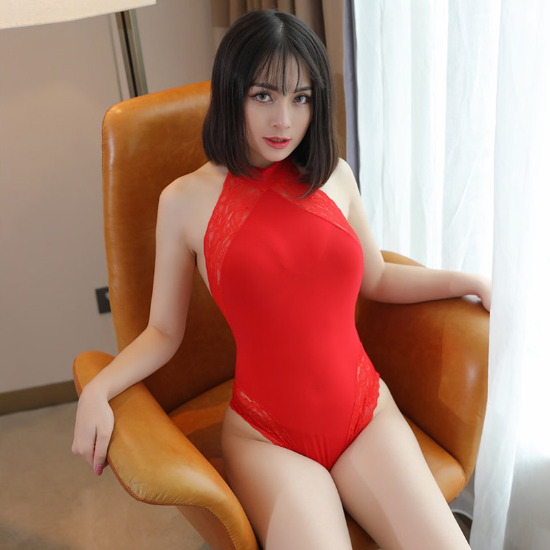 Lace See through Backless Sexy Bodysuits Women Tight Cute Jumpsuits Ice Silk Hollow Transparent Bodycon Bandage Erotic clothing