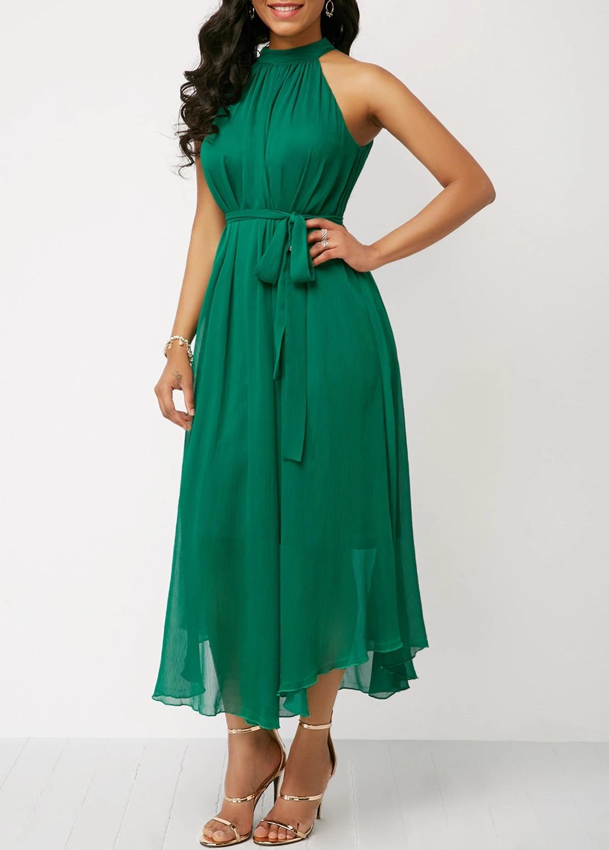 Plus sized Brand Women's Clothing 2021 Amazon AliExpress Wish Spring Summer  Halter Lace up Pleated Chiffon Dress|Dresses| - AliExpress
