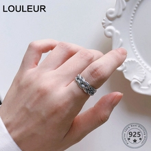 LouLeur 925 Sterling Silver Weaving Hollow Rings Handmade Retro Geometric Wide Open Ring for Women Fashion Real Jewelry