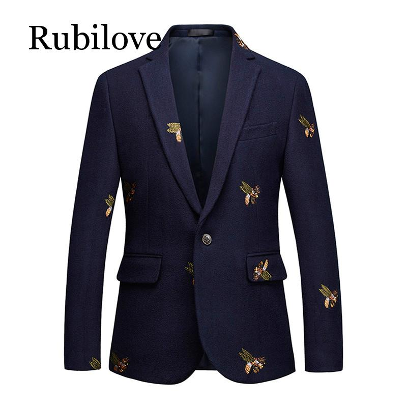 Rubilove Embroidery Suit Jacket For Men Wedding Party Slim Blazers High Quality Casual Mens 2019 blazer