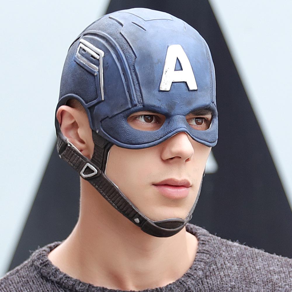 Movie Captain America 3 Civil War Captain America Mask Cosplay Steven Rogers Superhero Latex Helmet Halloween For Men Party Prop
