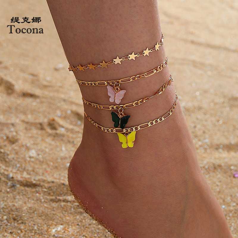 Tocona 4pcs/sets Colorful Acrylic Butterfly Anklets for Women Charm Star Gold Foot Chain Bohemian Jewelry Accessories 15664