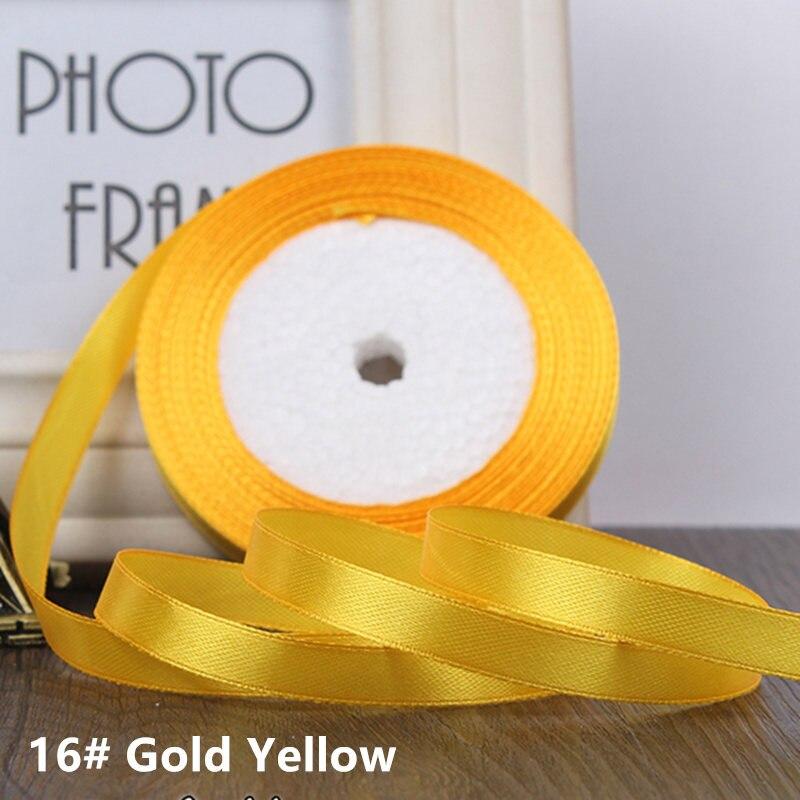 25 ярдов/рулон 6 мм 10 мм 15 мм 20 мм 25 мм 40 мм 50 мм шелковые атласные ленты для рукоделия бант ручной работы подарочная упаковка вечерние свадебные декоративные - Цвет: 16 gold  yellow