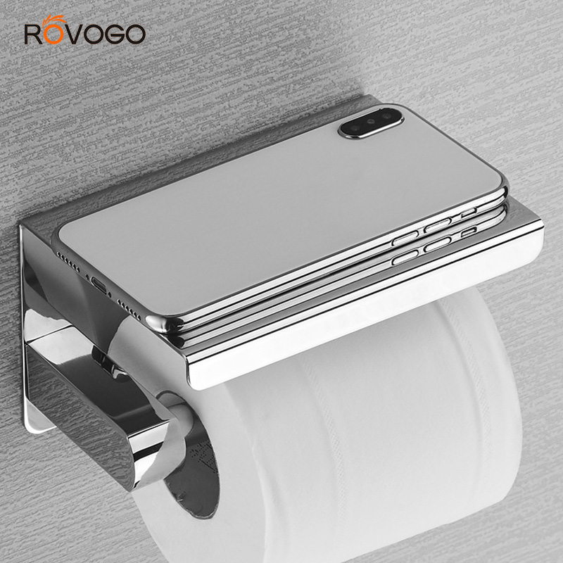 ROVOGO SUS 304 Stainless Steel Toilet Paper Holder With Phone Shelf, Bathroom Tissue Holder Toilet Paper Roll Holder