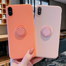 Soft Silicone Case For iPhone 11 Pro iPhone11 XS Max 6Plus 7Plus 8Plus XR X 7 8 6 S 6S Plus Ring Holder Stand Silicon Back Cover iphone case for iphone x xs xr xs max 8 7 6 6s plus iphone11 iphone11 pro iphone 11 pro max luxury square soft leather kickstand