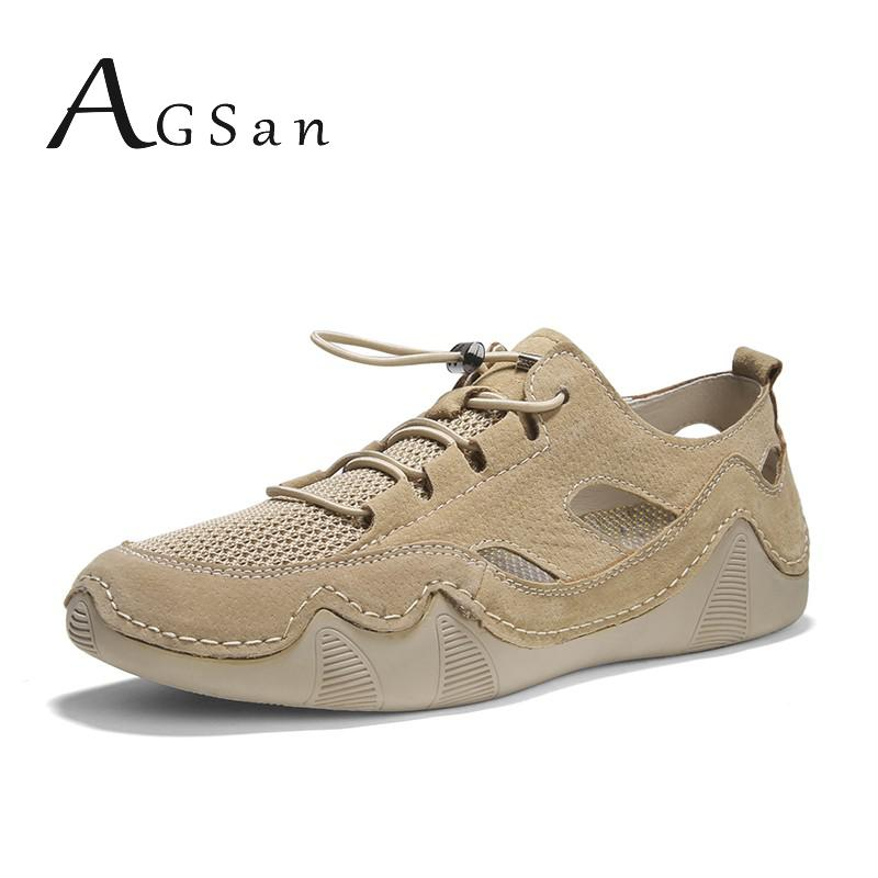 Leather Sneakers Men Summer Breathable Casual Shoes Big Size 48 47 Cow Suede Flats Mens Fashion Zapatos Hombre High Quality Gray
