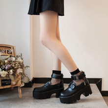 2020 New Womens Pump Gothic Shoes Ankle Strap High Chunky Heels Platform Punk Creepers Shoes Female Fashion Buckle Comfortable(China)