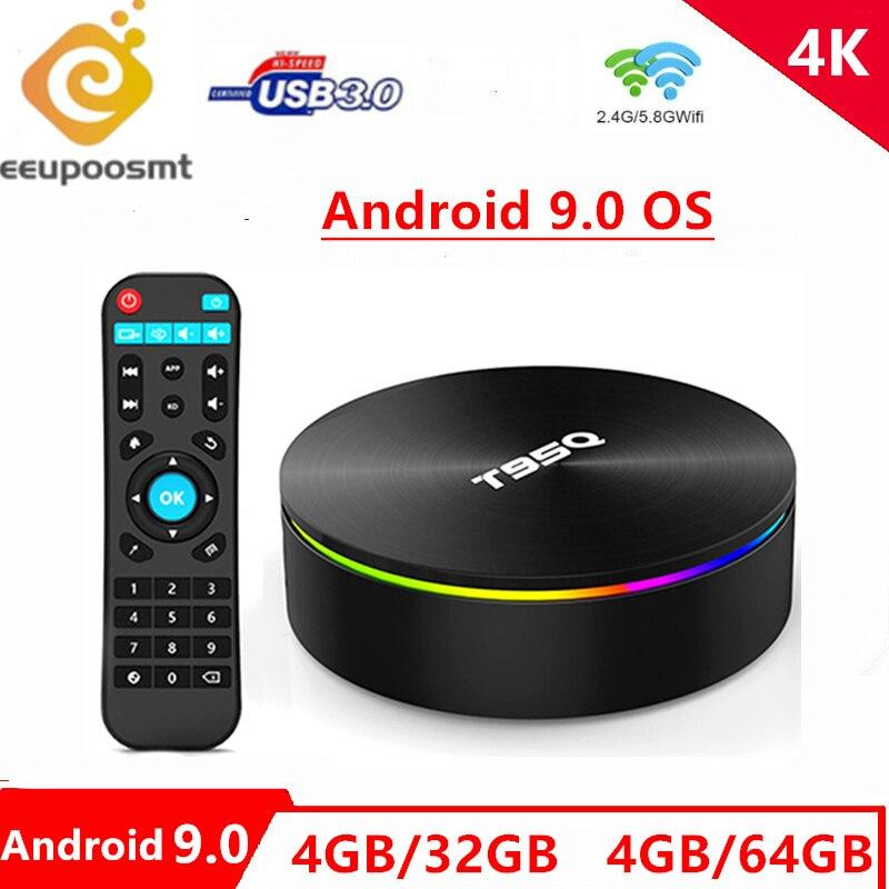 T95q android 9.0 caixa de tv amlogic s905x2 quad cor 4g 32g 2.4/5.8g wifi bt4.1 100 m 4 k media player 4gb64gb caixa de tv inteligente pk x96max